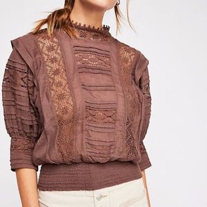 NEW Chestnut FP One Sydney Blouse Crochet Free Peo